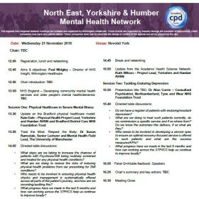 North East, Yorkshire and Humber Mental Health Network 21 November Agenda
