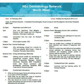 HSJ Dermatology Network - North West Agenda
