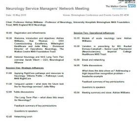 Neurology Service Managers Network Meeting