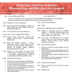 North East, Yorkshire and Humber Rheumatology and MSK Disorders Network 20 November 2018 Agenda